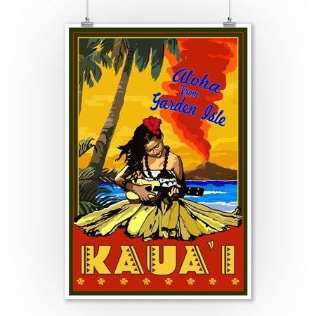 Hula Girl Ukulele (Hula Girl & Ukulele - Kauai, Hawaii - Lantern Press Poster (9x12 Art Print, Wall Decor Travel Poster) )
