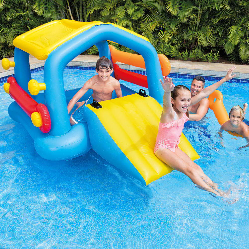 "Intex Inflatable Island with Slide with Removable Side Noodles, 110"" x 68"" x 48"""
