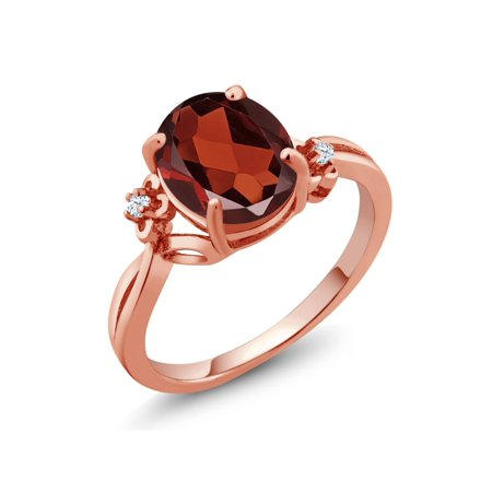 (2.53 Ct Oval Red Garnet White Created Sapphire 18K Rose Gold Plated Silver Ring)