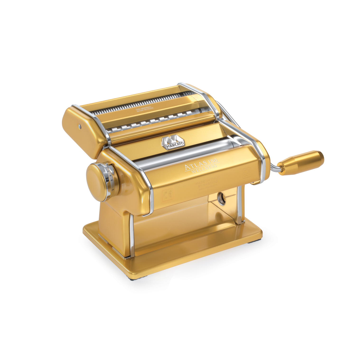 Atlas Made in Italy Pasta Machine, Stainless Steel, Gold, 150-Millimeters Wide, Includes Pasta Machine with... by Marcato