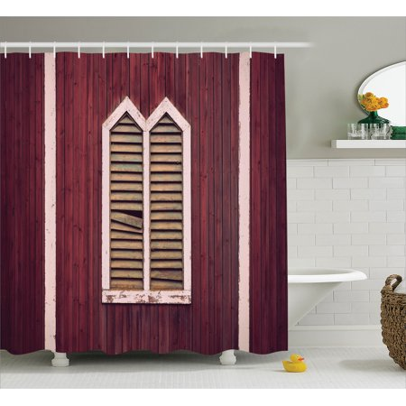 Rustic Shower Curtain Set Window Frame With Shutters On Wooden Wall Vintage Style Decorating