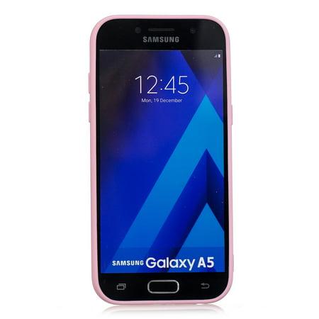 pour Samsung A5 2017 mignon couleur bonbon mat TPU anti-rayures antidérapant housse de protection étui arrière Rose foncé Samsung A5 2017