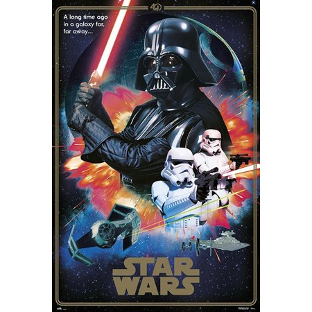Star Wars Episode Iv A New Hope Movie Poster Print 40th Anniversary Collage The Villains Darth Vader Stormtroopers Size 24 X 36 Black Poster Hanger Walmart Com Walmart Com