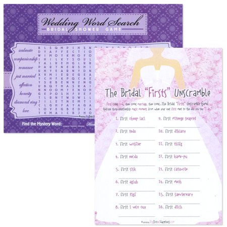 Bridal Shower Two Games In One - Wedding Word Search and Bridal Firsts Unscramble - 18 Count (Wedding Shower)
