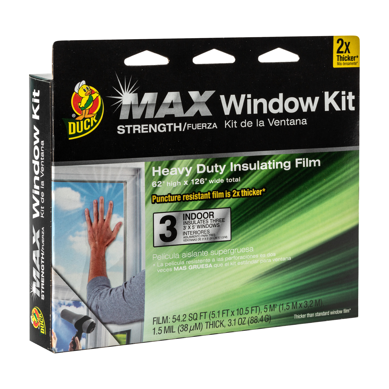 Duck MAX Heavy Duty Indoor Window Insulation Kit, Film Insulates Three 3' x 5' Windows