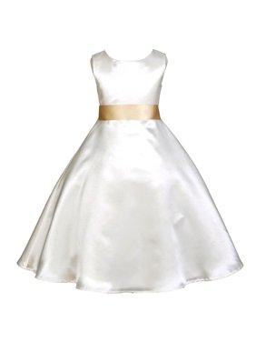 1b0db22544 Product Image Ekidsbridal Formal Satin Ivory A-Line Flower Girl Dress  Bridal Bridesmaid Wedding Pageant Toddler Recital