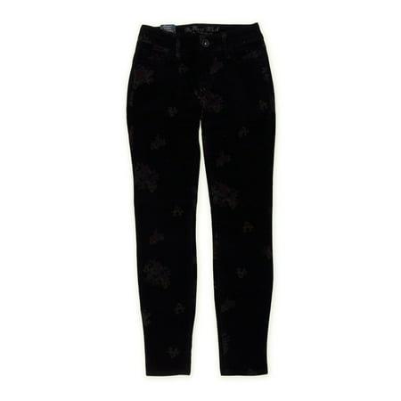 Bullhead Denim Co. Womens Premium Velveteen Floral Skinny Fit Jeans, Black, 9