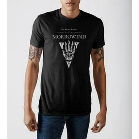 Scroll Print Tee (The Elder Scrolls III Morrowind Emblem Men's Black Graphic Print T-shirt-Medium)