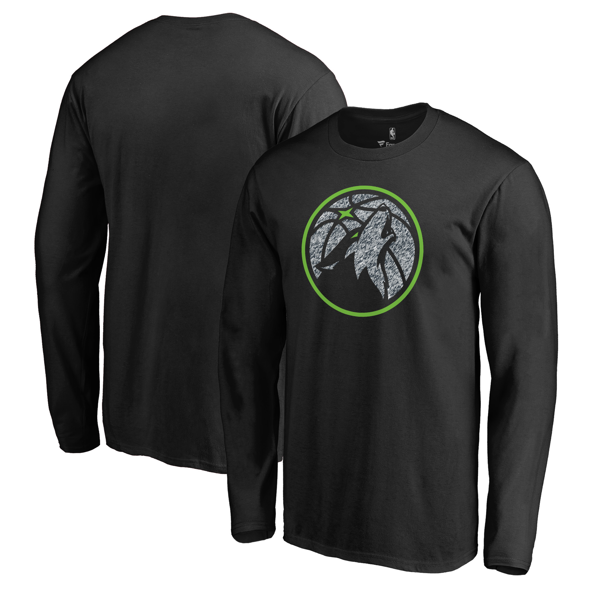 Minnesota Timberwolves Fanatics Branded Primary Logo Static Long Sleeve T-Shirt - Black