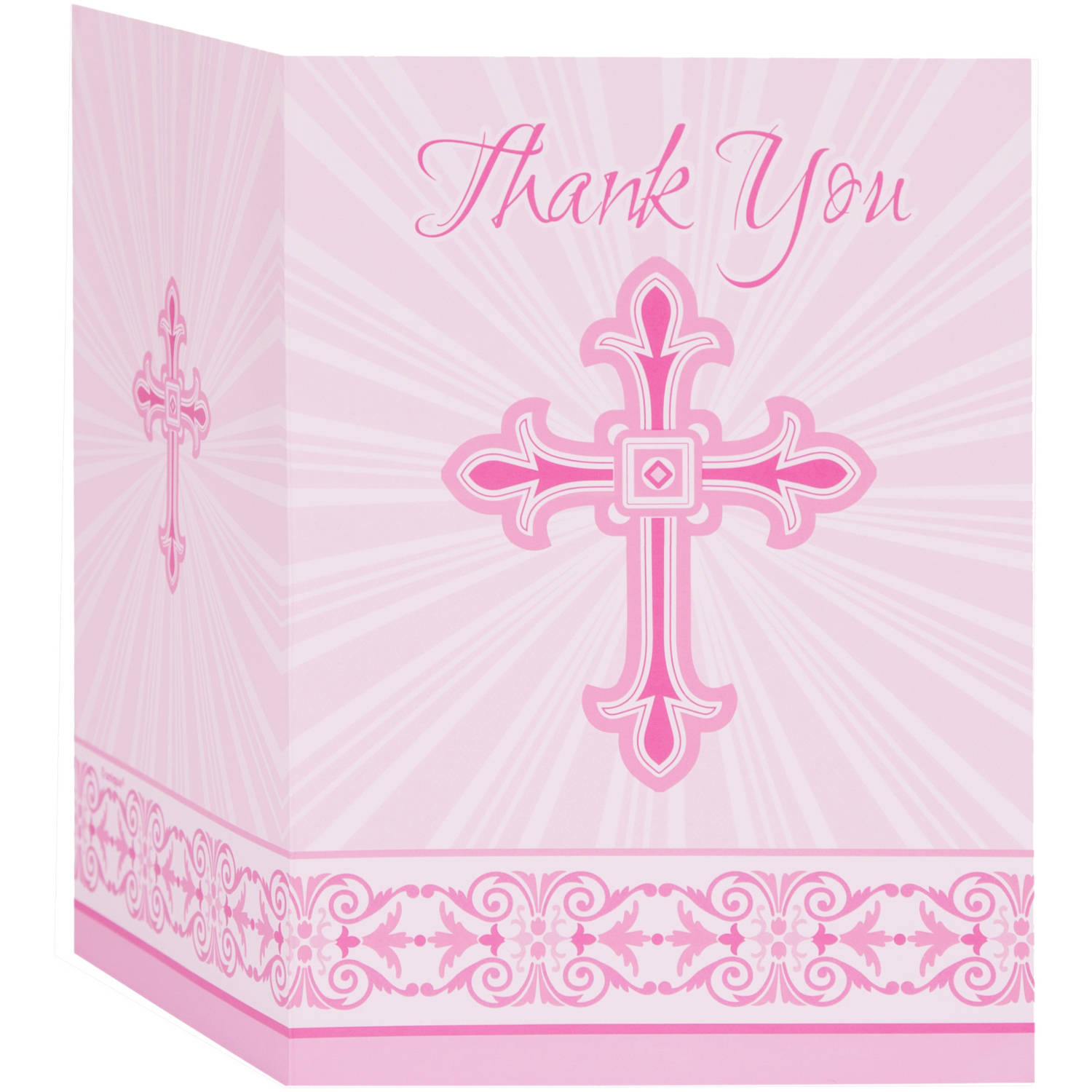 Radiant Cross Religious Thank You Notes, 5.5 x 4 in, Pink, 8ct