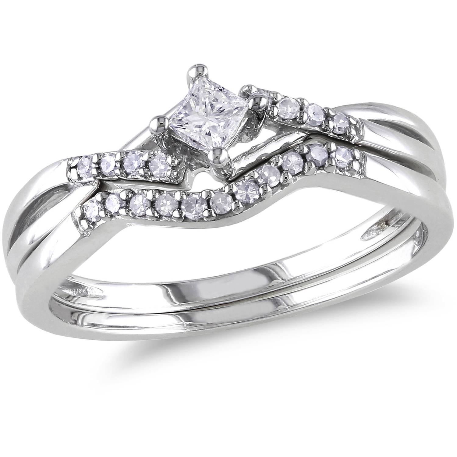 Miabella 1 5 Carat T.W. Princess and Round-Cut Diamond Sterling Silver Cross-Over Bridal Set by Generic