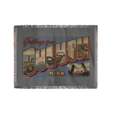 Greetings From Duluth  Minnesota  60X80 Woven Chenille Yarn Blanket