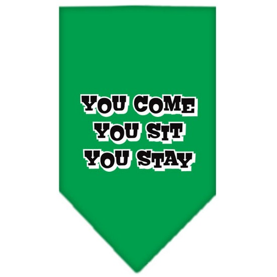 Image of Mirage 66-74 SMEG You Come You Sit You Stay Print Pet Bandana Emerald Green Sm