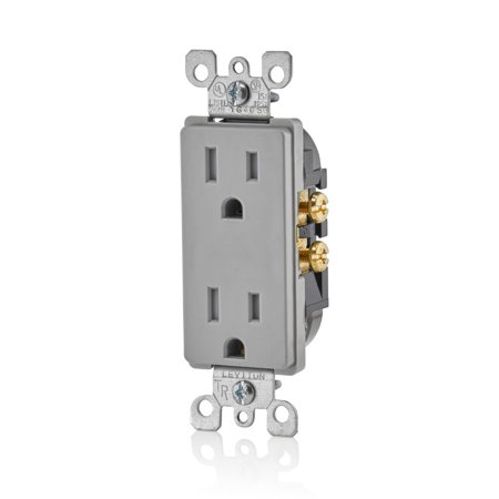 Leviton T5325-GY 15 Amp 125 Volt, Tamper Resistant, Decora Duplex Receptacle, Straight Blade, Grounding, Gray ()