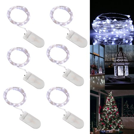 0.5' Led Rope Light (12/6-pack 20 LEDs Battery Operated Waterproof Fairy String Lights Starry Rope Copper Wire Lamps,Firefly Moon Lights for Party Mason Jars Crafts Christmas Decor, Cold White/Multi-color/Warm White-6.5ft)