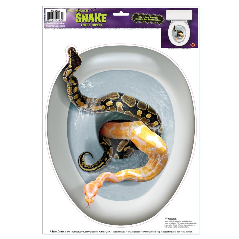 Club Pack of 12 Snake Toilet Topper Peel 'N Place Hallowe...