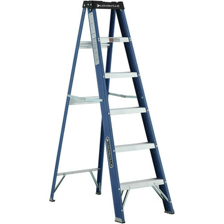(Louisville Ladder 6 ft. Fiberglass Step Ladder with project top, Type II, 225 Lbs Load Capacity W-3215-06)