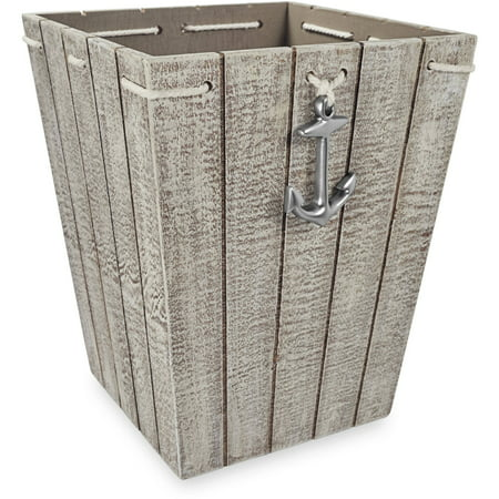 - Better Homes & Gardens MDF Wood Nautical Wastebasket, 1 Each