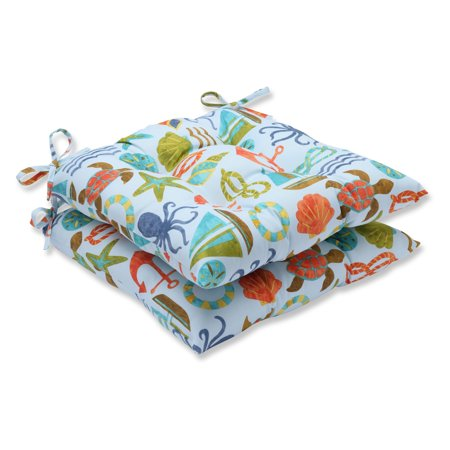 Pillow Perfect Outdoor/ Indoor Seapoint Blue Summer Wrought Iron Seat Cushion (Set of 2) ()