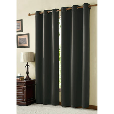 VCNY Home Blackout Solid Twill McKenzie Grommet Top Window Curtains, Multiple Colors and Sizes - Brown Twill Arch