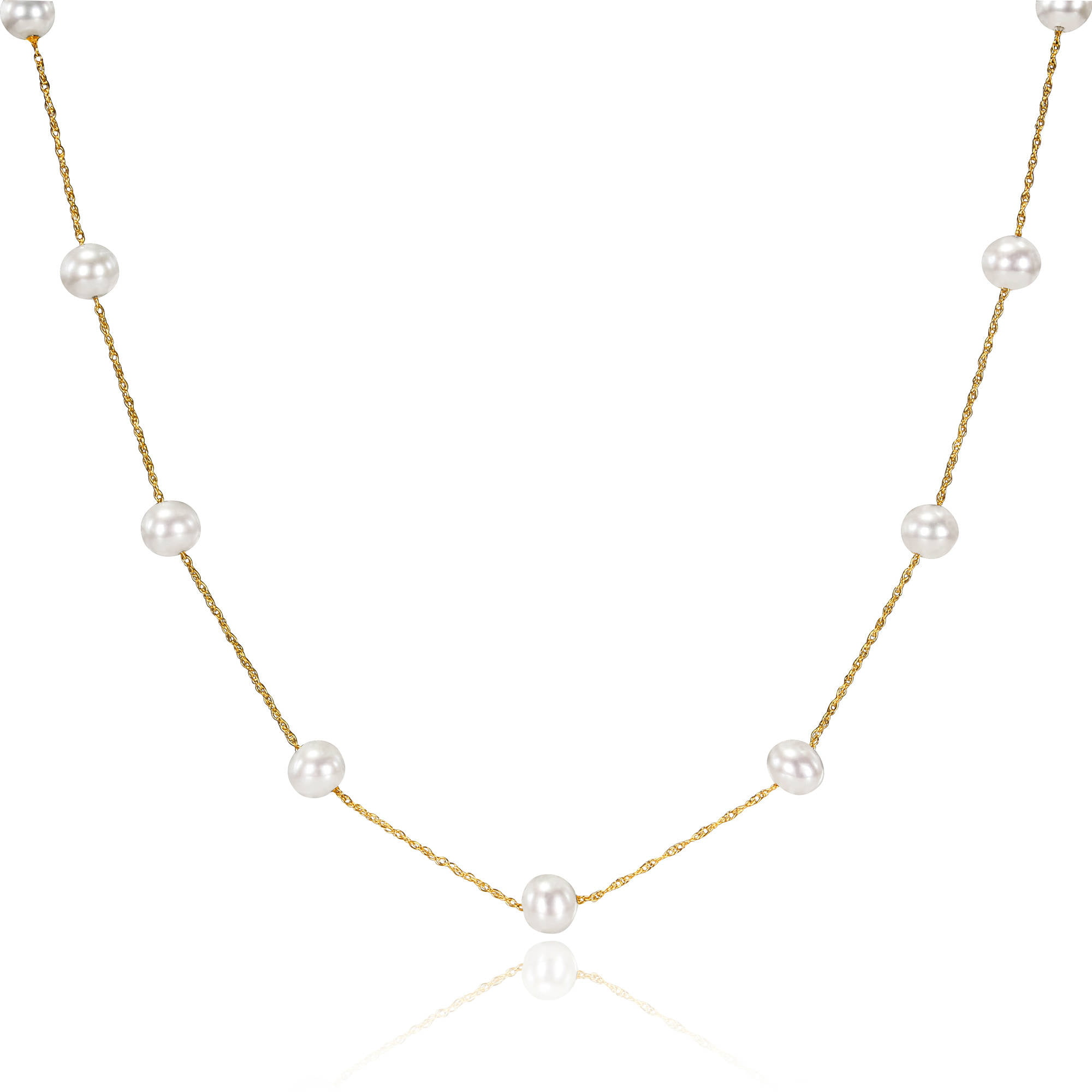 """Miabella 5.5-6mm White Freshwater Cultured Pearl 10kt Yellow Gold Tin-Cup Necklace, 17"""" by Miabella"""
