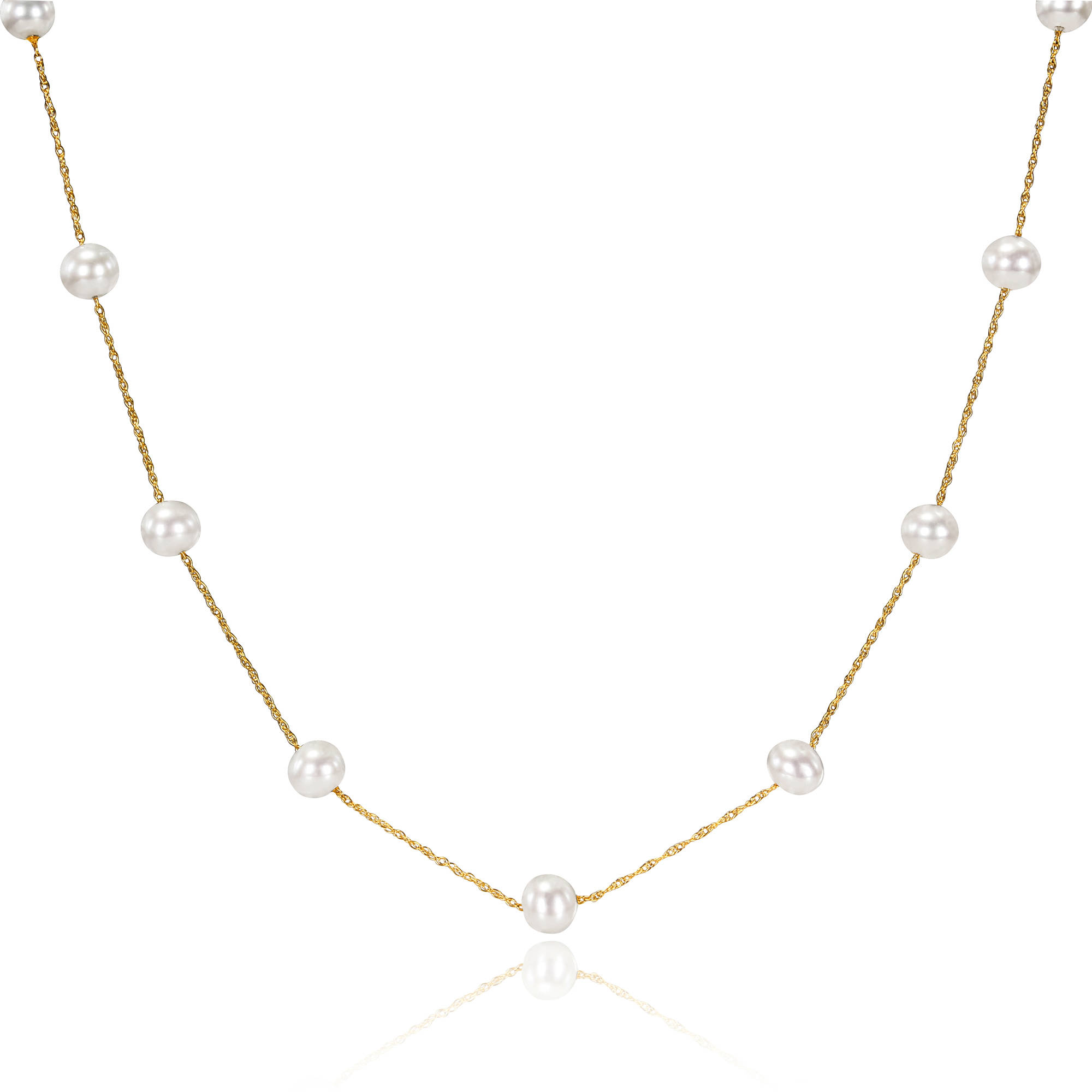 Miabella 5.5-6mm White Freshwater Cultured Pearl 10kt Yellow Gold Tin-Cup Necklace, 17