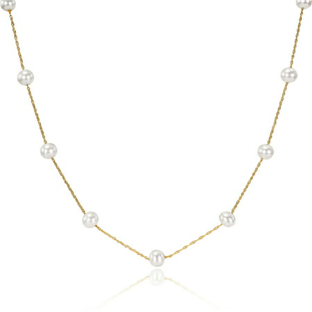 - 5.5-6mm White Freshwater Cultured Pearl 10kt Yellow Gold Tin-Cup Necklace, 17
