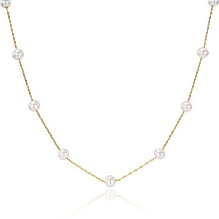 5.5-6mm White Freshwater Cultured Pearl 10kt Yellow Gold Tin-Cup Necklace, 17
