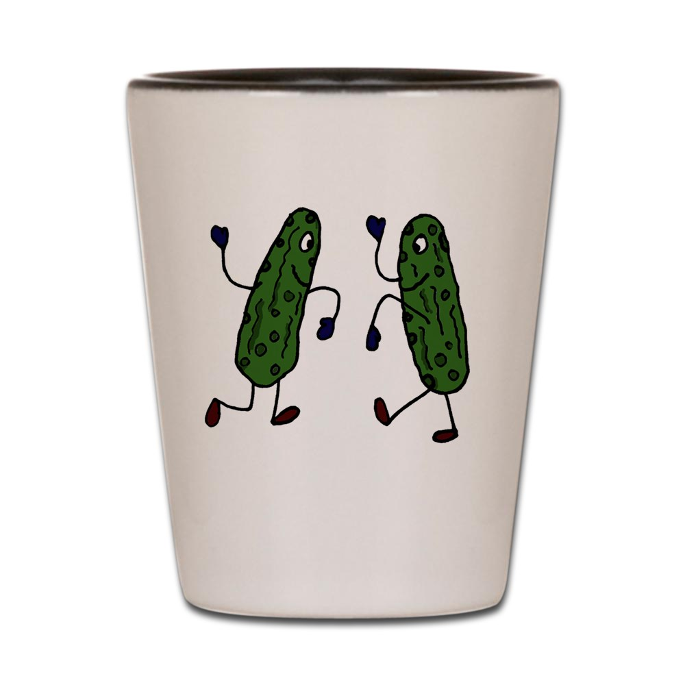 CafePress - Funny Pickles Dancing - White Shot Glass, Unique and Funny Shot Glass