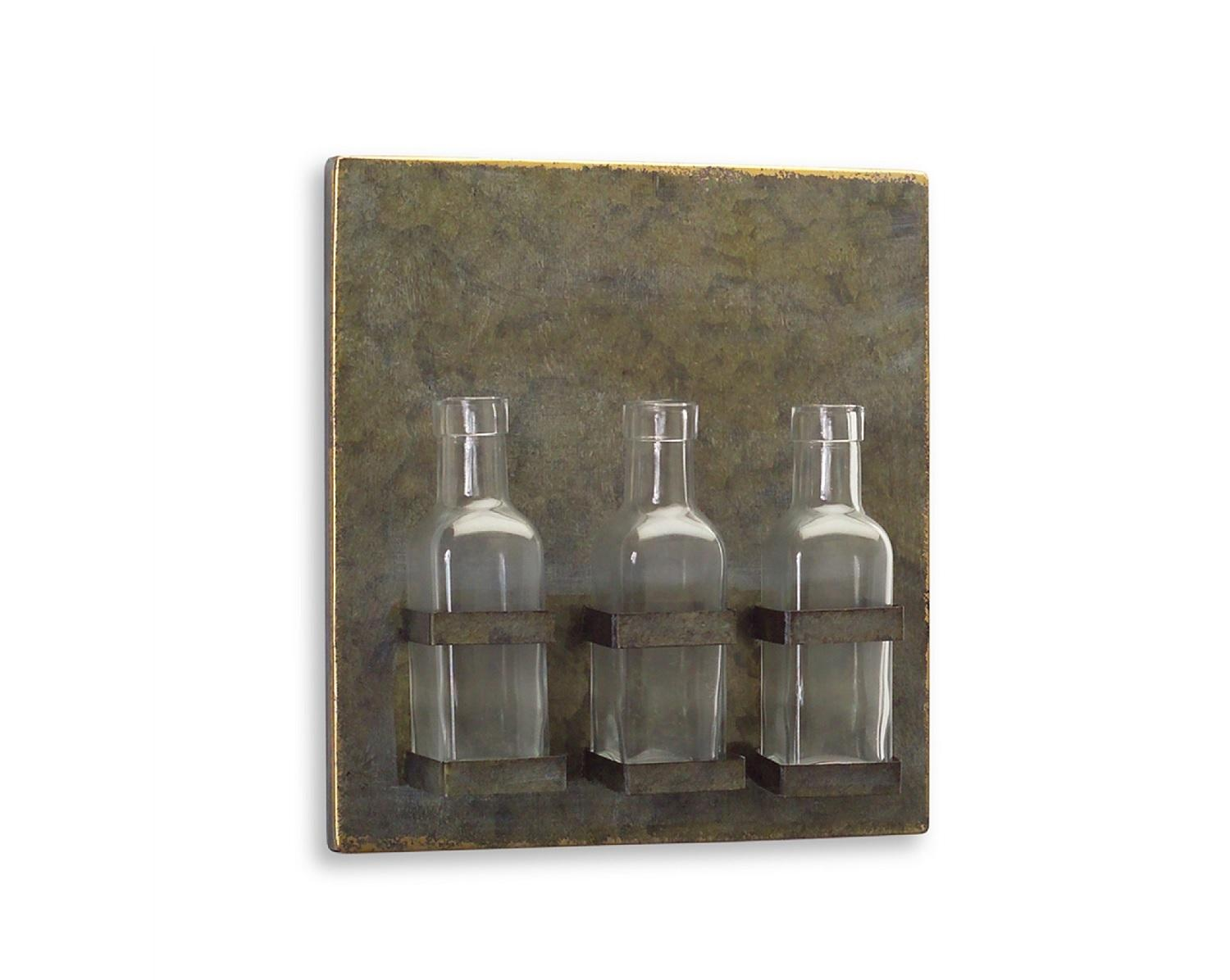 "11.25"" Farmhouse Chic Tin Plaque with Three Glass Bottles Wall Decor by Melrose"