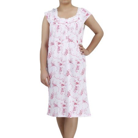 Women's and Women's Plus Cotton Short Sleeve Darling Nightgown by EZI Cotton Short Sleeve Gown