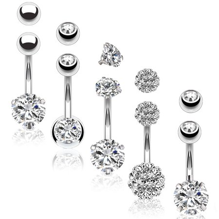 BodyJ4You 5PC Belly Button Rings 14G Stainless Steel CZ Women Navel Body Piercing Jewelry