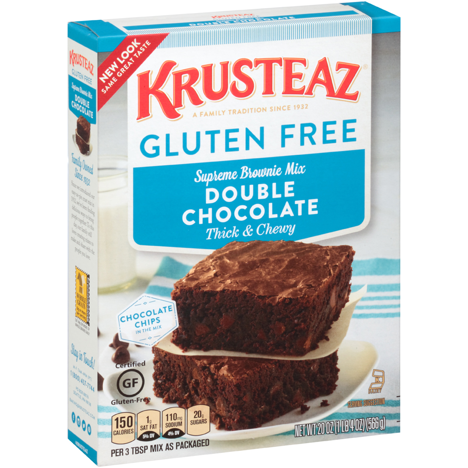 Krusteaz Gluten Free Double Chocolate Brownie Mix, 20-Ounce Boxes