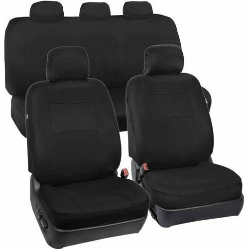 BDK Standard Car Seat Covers 9pc Polyester Cloth 2 Front and Solid Full Bench
