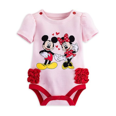 Disney Store Baby Girls Mickey & Minnie Mouse Short Sleeve Cuddly Bodysuit, Pink/Red, 0-3 Months
