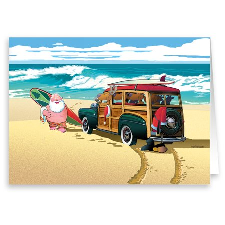 Beach Christmas Cards >> Santa S Classic Woody Beach Card Funny Holiday Christmas Cards