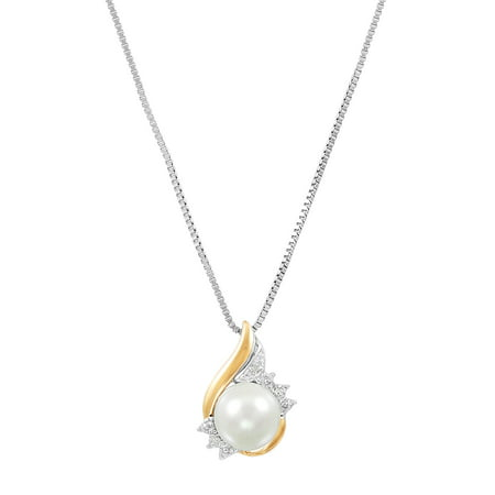 Sterling Silver with 10kt Yellow Gold Pearl and Diamond Accent Pendant Necklace