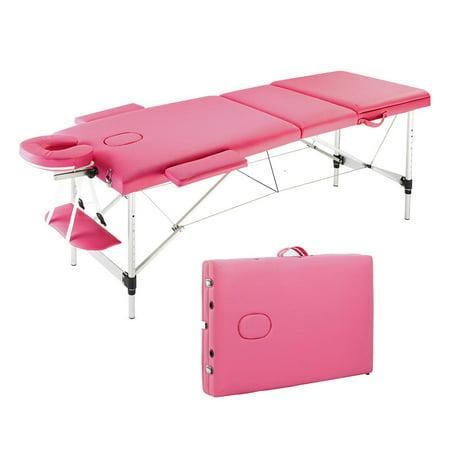 Folding Head - AMONIDA Portable Folding Beauty SPA Massage Table Adjustable Headrest Salon Home Fodable Bed with Bag