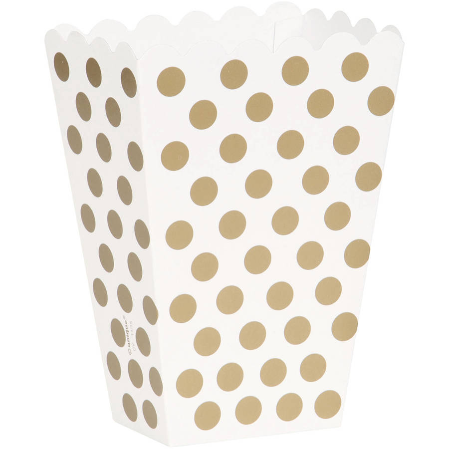 Gold Polka Dot Treat Favor Boxes, 8ct