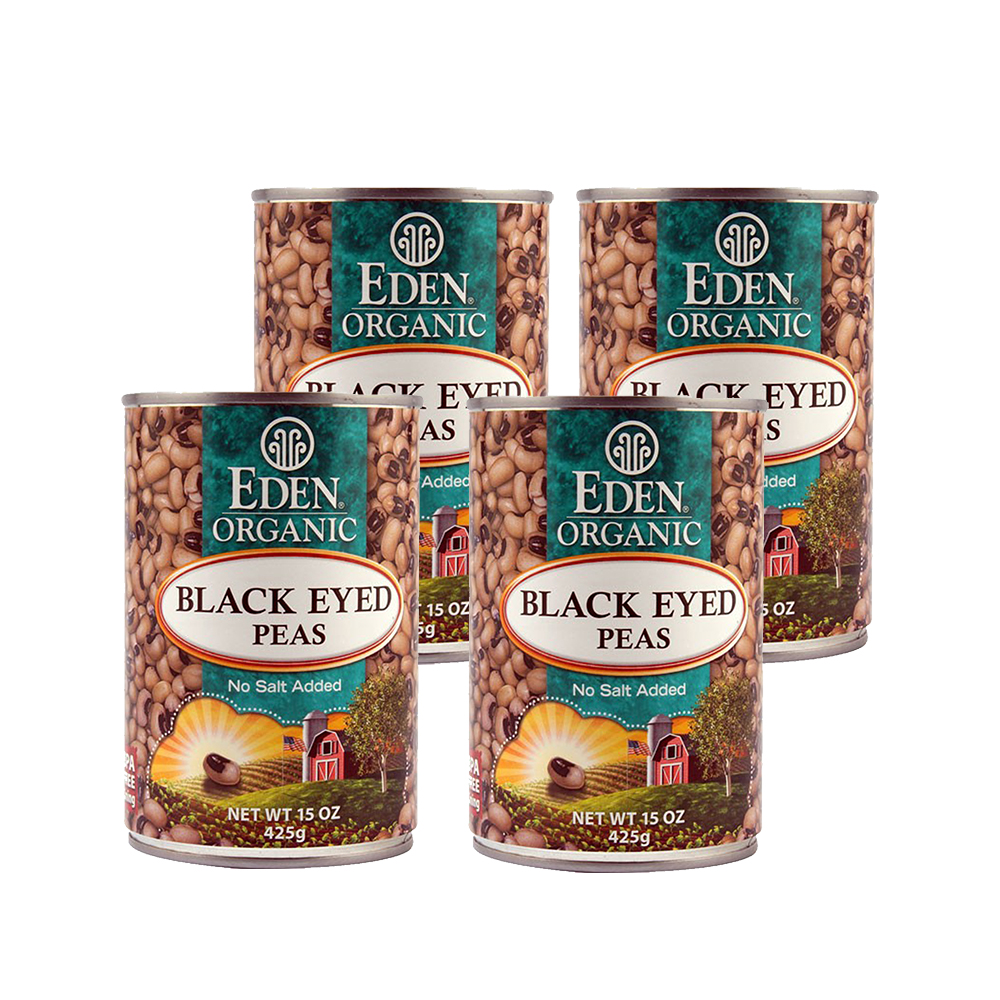 Eden Organic Black Eyed Peas, No Salt Added, 15 Oz (4 Packs)
