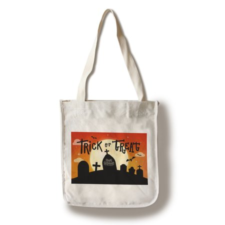 Happy Halloween - Trick or Treat - Graveyard - Lantern Press Artwork (100% Cotton Tote Bag - - Putnam Den Halloween
