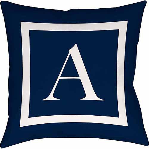 Thumbprintz Classic Block Monogram Decorative Pillow, Blue