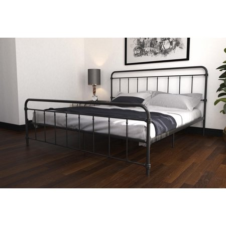 DHP Wallace Metal Bed, King Size Frame with Underbed Storage, Black