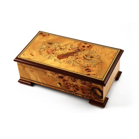 Magnificant Sankyo 72 Note Pioppo Music Box with Violin and Floral Inlay - Elvira - Mozart's Piano Concerto No. 21 - (3 Parts) - Halloween Music Piano Notes