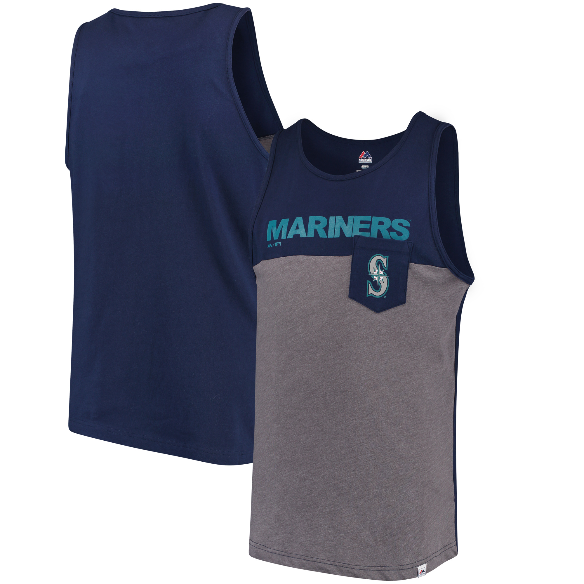 Seattle Mariners Majestic Throw the Towel Pocket Tank Top - Navy/Gray