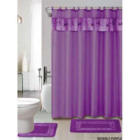 Piece Luxury Embroidered Bath Rug Set Piece Purple Bathroom - 3 piece bathroom rug sets for bathroom decor ideas