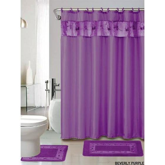 Purple Bathroom Mat Sets: 4 Piece Luxury Embroidered Bath Rug Set/ 3 Piece Purple