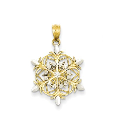 Player Charm 14kt Gold Jewelry - 14k Yellow Gold Snowflake Pendant Charm Necklace Holiday