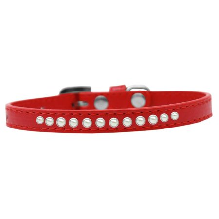 Mirage Pet 611-03 RD-12 Pearl Puppy Collar, Red - Size 12