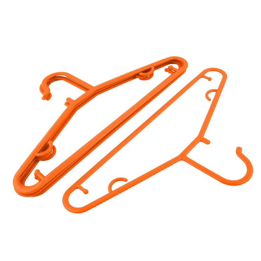 Household Plastic Clothes Underwear T-shirt Pants Holder Rack Hanger Orange 5pcs